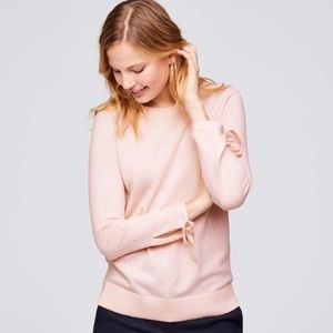 Loft Tie Cuff Sleeve Sweatshirt In Light Pink